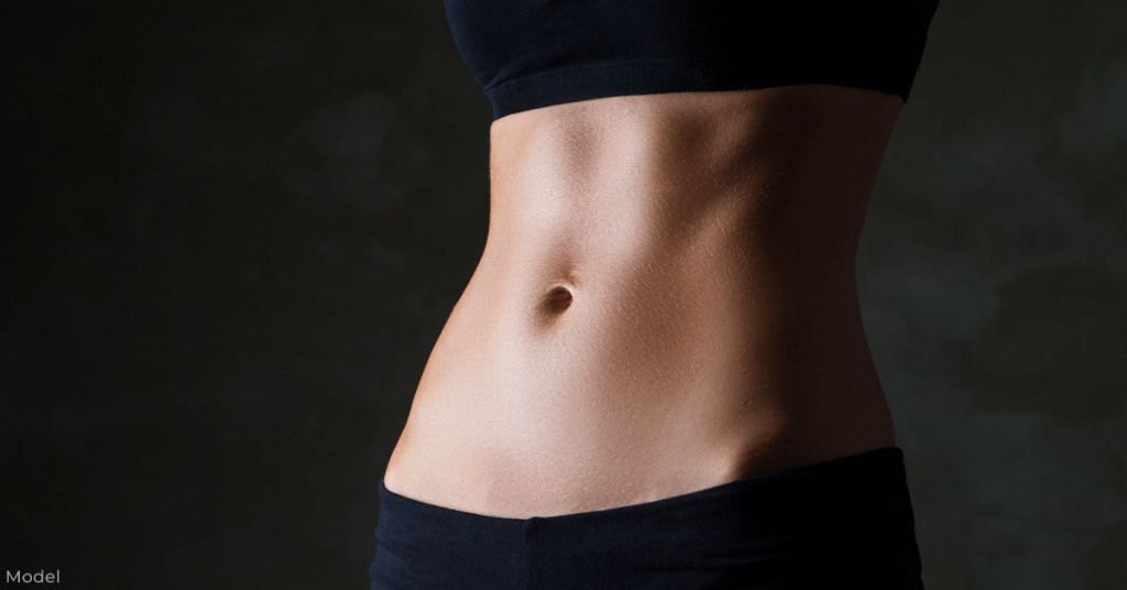 Image of woman's stomach with minimal fat